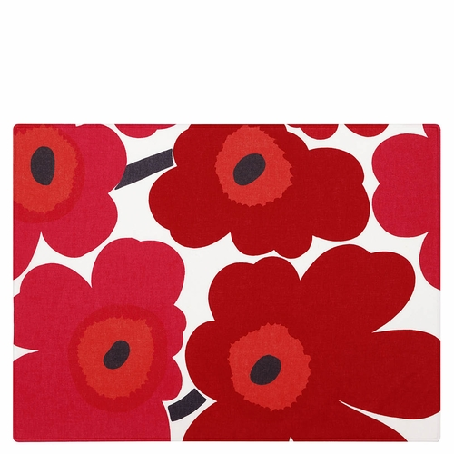 Marimekko Pieni Unikko Acrylic Coated Cotton Placemat, White/Red - Set of 6