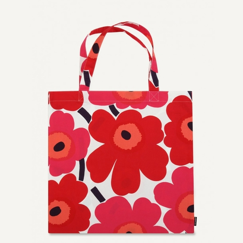 Marimekko Pieni Unikko Cotton Bag, White/Red