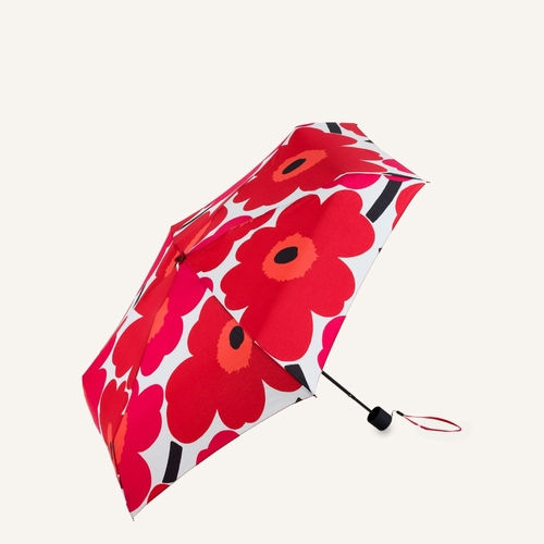 Marimekko Pieni Unikko Mini Manual Umbrella, White/Red