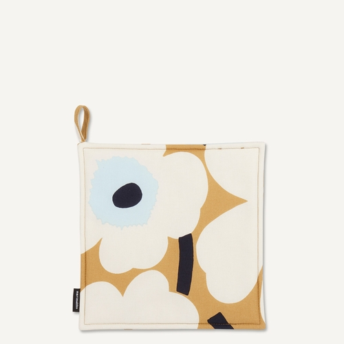 Pieni Unikko Pot Holder, Beige/Off-White/Blue