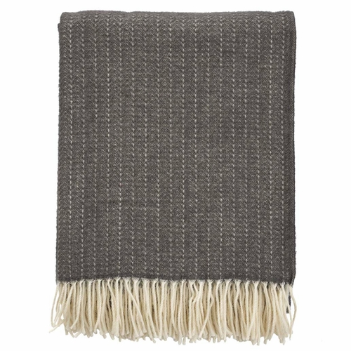 Pin Strip Brushed Cashmere & Merino Wool Throw, Dark Grey
