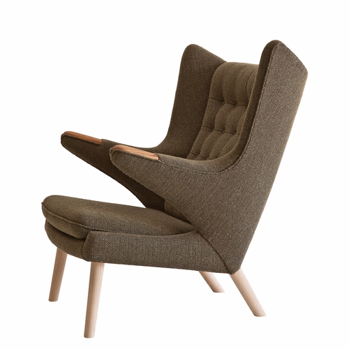 PP Mobler Papa Bear Chair, Cobblestone / Dessin Fabric, Walnut Paws, Walnut Legs