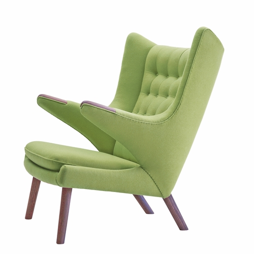 PP Mobler Papa Bear Chair, Divina / Dessin 856 Green Fabric, Walnut Paws, Walnut Legs