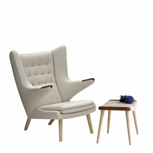 PP Mobler Papa Bear Chair, Hallingdal / Dessin 110 Fabric, Walnut Paws, Oak Soap Legs with Matching Footstool