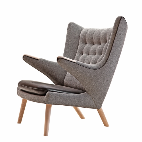 PP Mobler Papa Bear Chair, Hallingdal / Dessin 126 Fabric, Leather Seat, Oak Soap Paws, Oak Soap Legs