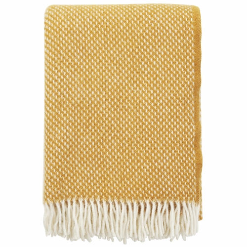 Klippan Preppy Lambs Wool Throw, Mustard