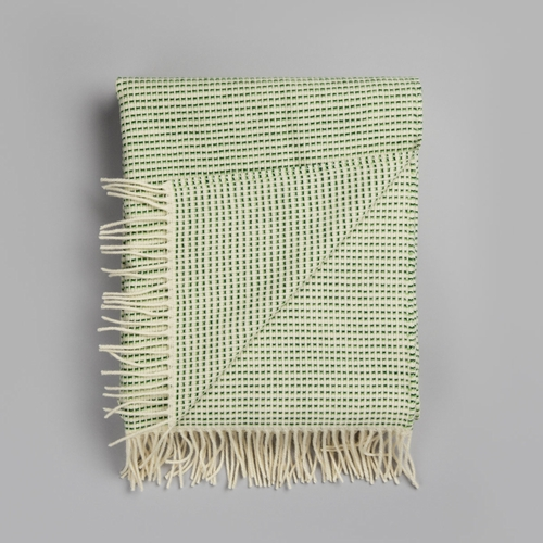 "Roros Tweed Punkt Wool Blanket with Fringes, Green - 59"" x 83"""