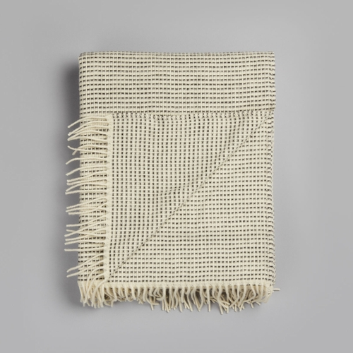 """Punkt Wool Blanket with Fringes, Grey - 59"""" x 83"""""""