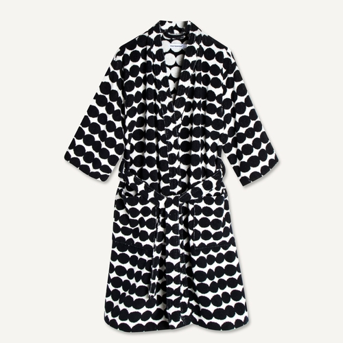 Marimekko Rasymatto Bathrobe, White/Black - Medium