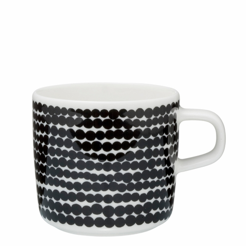 Marimekko Rasymatto Coffee Cup, White/Black, 7 oz - Starter Set of 6