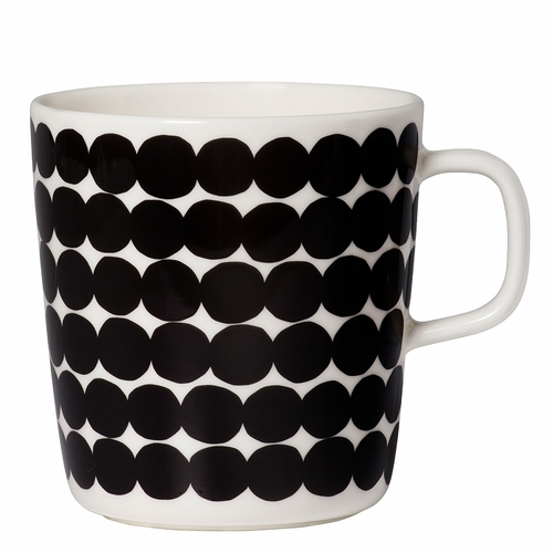 Marimekko Rasymatto Mug, White/Black, 14 oz - Starter Set of 6