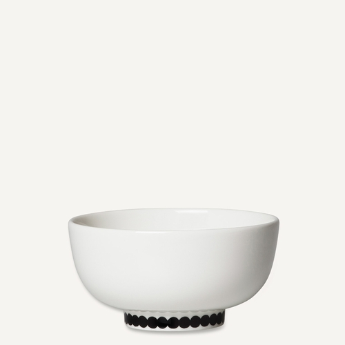 Marimekko Rasymatto Rice Bowl, White/Black, 10.5 oz - Starter Set of 6