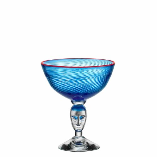 Red Rim Brains Footed Bowl - Blue