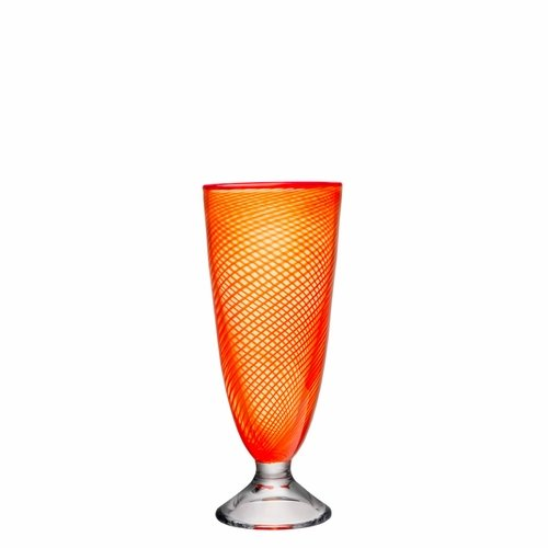 Kosta Boda Red Rim Footed Vase - Orange