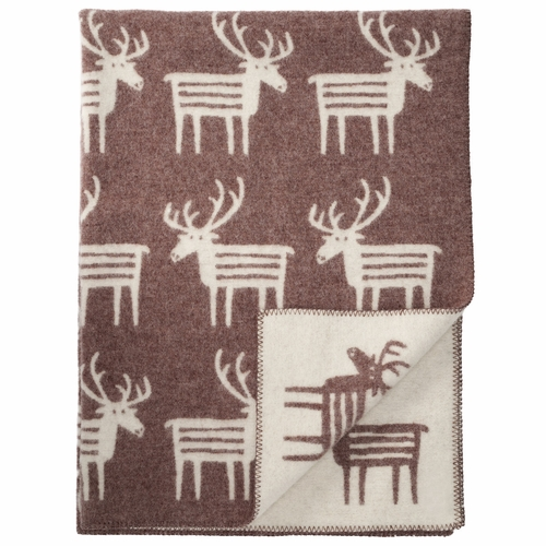 Reindeer Lambs Wool Blanket, Brown