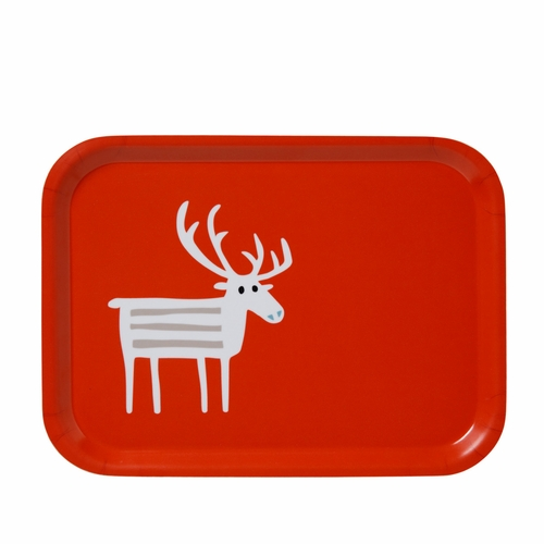 Reindeer Small Tray, Red