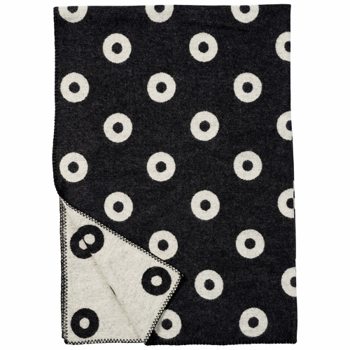 Klippan Rings Merino & Lambs Wool Blanket, Black