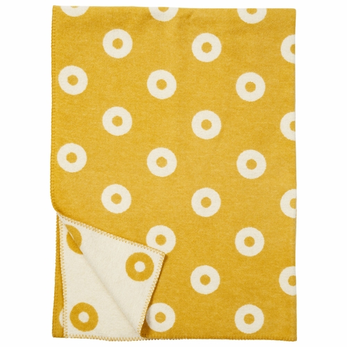 Klippan Rings Merino & Lambs Wool Blanket, Yellow