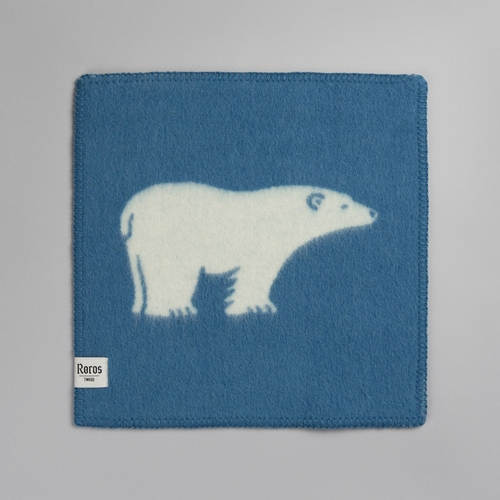 "Roros Tweed Isbjorn (Polar Bear) Wool Seating Pad, Blue/Natural - 18"" x 18"""