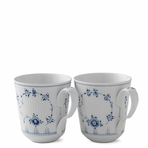 Royal Copenhagen Blue Fluted Plain Mug Set of 2, 12.25 oz.