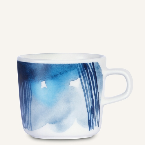 Marimekko Saapaivakirja Coffee Cup, White/Blue, 7 oz - Starter Set of 6