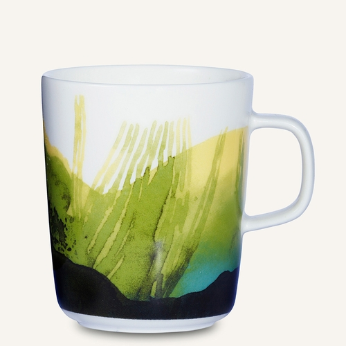 Marimekko Saapaivakirja Mug, White/Dark Green/Green, 8.8 oz - Starter Set of 6