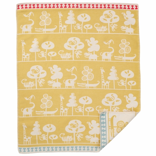 Klippan Serengeti Organic Brushed Cotton Baby Blanket, Yellow