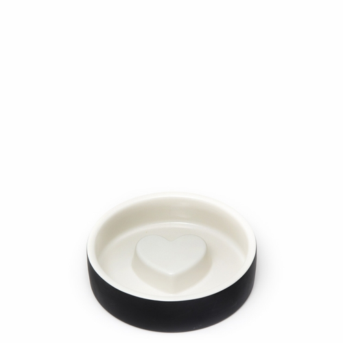 Small Pet Bowl, Heart - Black