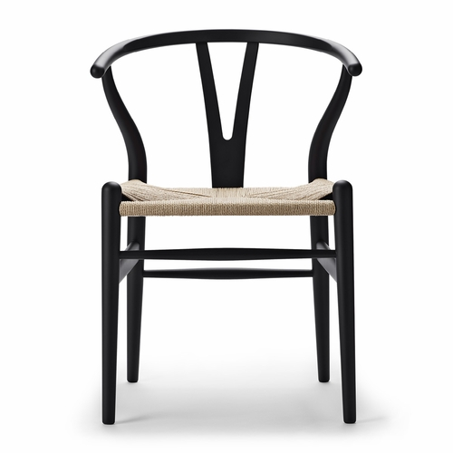 Special Edition CH24 Wishbone Chair, Matte Black, Natural Paper Cord Seat