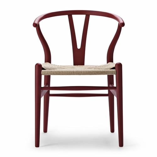 Special Edition CH24 Wishbone Chair, Matte Red, Natural Paper Cord Seat