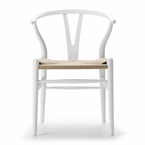 Carl Hansen & Son Special Edition CH24 Wishbone Chair, Matte White, Natural Paper Cord Seat