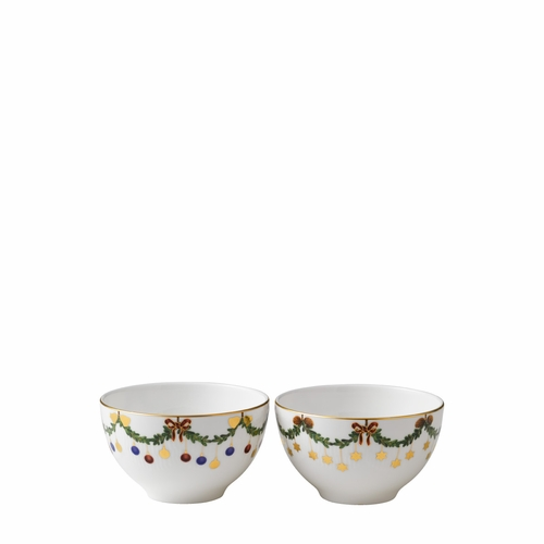 Royal Copenhagen Star Fluted Christmas Chocolate Bowl, Set of 2