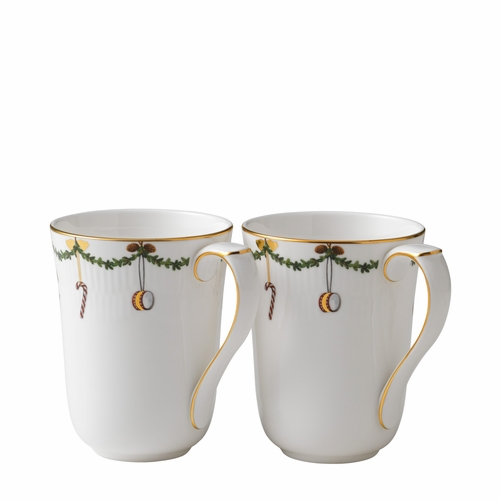 Royal Copenhagen Star Fluted Christmas Mugs, Set of 2