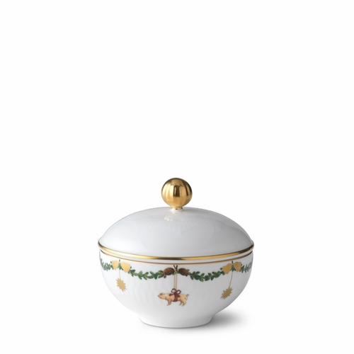 Royal Copenhagen Star Fluted Christmas Sugar Bowl with Lid