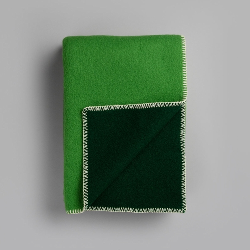 "Roros Tweed Stemor Wool Blanket, Green - 53"" x 79"""