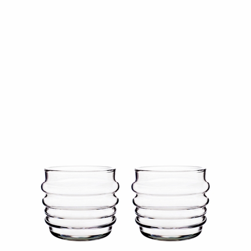 Marimekko Sukat Makkaralla Tumbler Set of 2, Clear, 7 oz - Starter Set of 6 Glasses