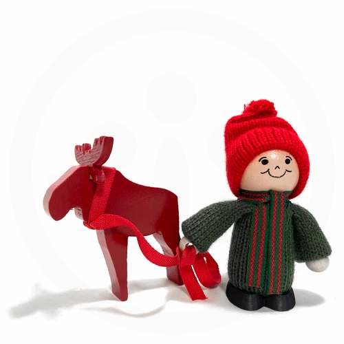 Swedish Boy with Red Moose