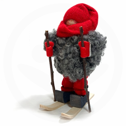 Swedish Tomte Skier with Red Hat - Made in Sweden
