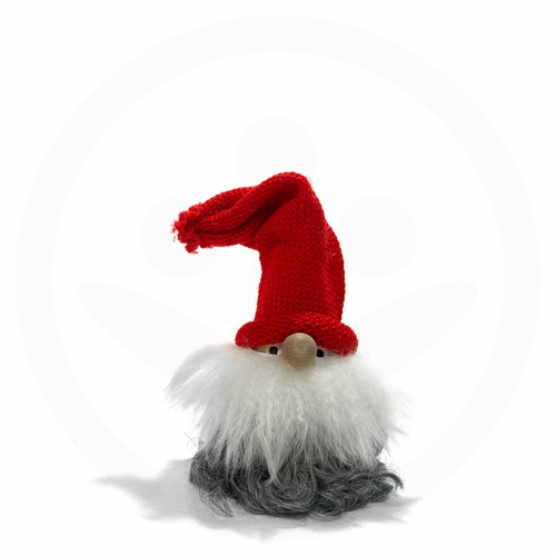 Swedish Tomte with Fur, Eyes & Red Hat