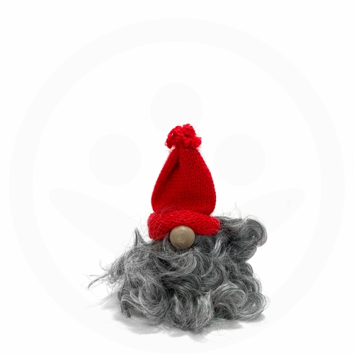 Swedish Tomte with Grey Fur Set of 2 - Red & White Hat