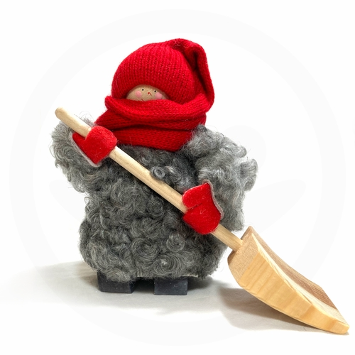 Swedish Tomte with Long Stocking Hat & Shovel