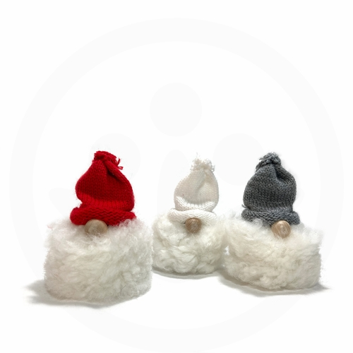 Swedish Tomte with White Fur Set of 3, Red, Grey & White Hat