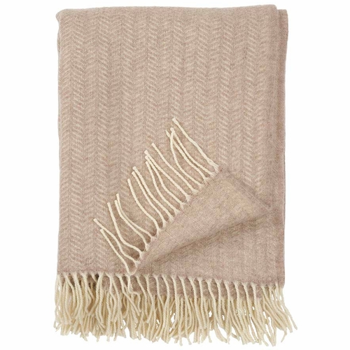 Klippan Tippy Brushed Cashmere & Merino Wool Throw, Beige Melange