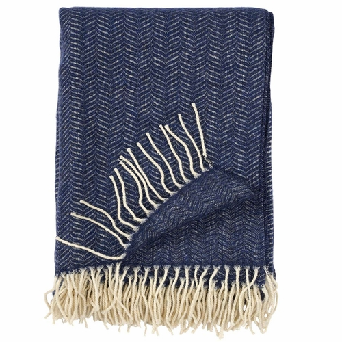 Klippan Tippy Brushed Cashmere & Merino Wool Throw, Denim