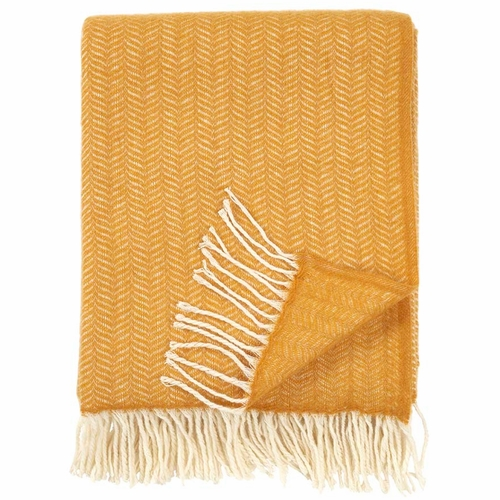 Klippan Tippy Brushed Cashmere & Merino Wool Throw, Mustard