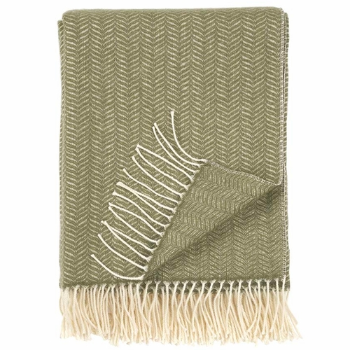 Klippan Tippy Brushed Cashmere & Merino Wool Throw, Olive