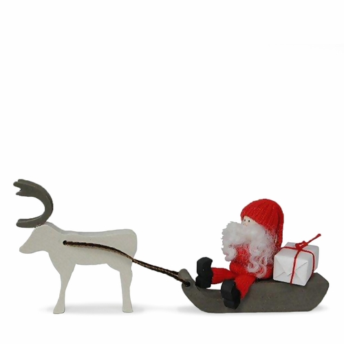 Tomte on Sled with Reindeer - Made in Sweden