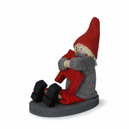 Tomte Sitting with Horse - Made in Sweden