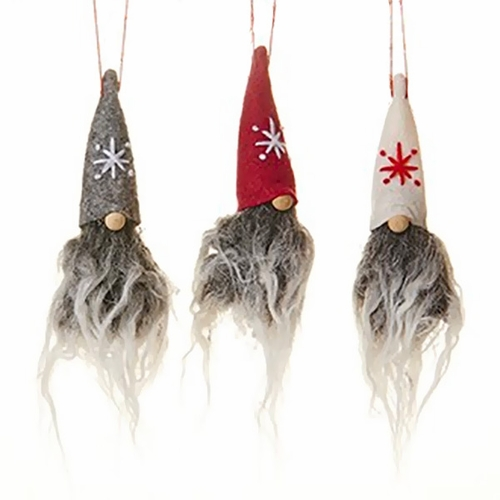 Tomte Trio with Tall Hats Ornaments, Set of Three