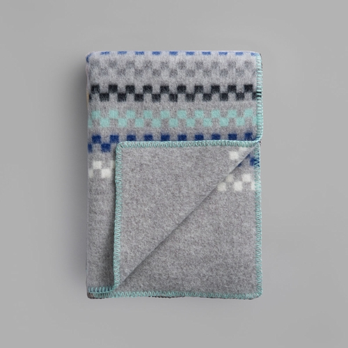 "Roros Tweed Toskaft Wool Blanket, Grey/Turquoise - 53"" x 79"""